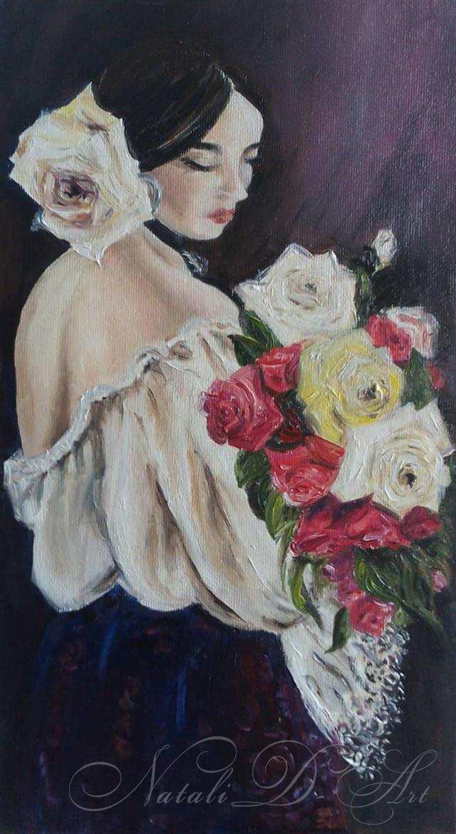 Spanish women with flowers