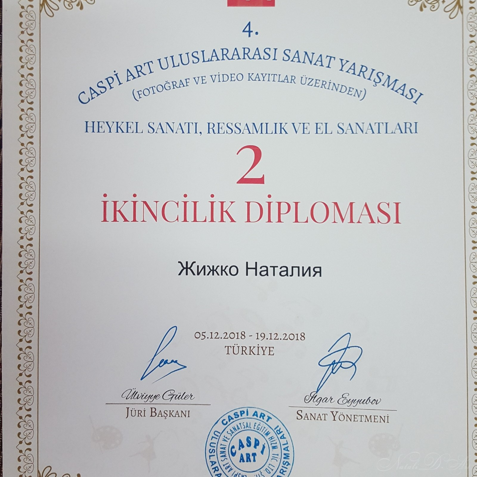 My diploma.I took sekond place in Turkey.