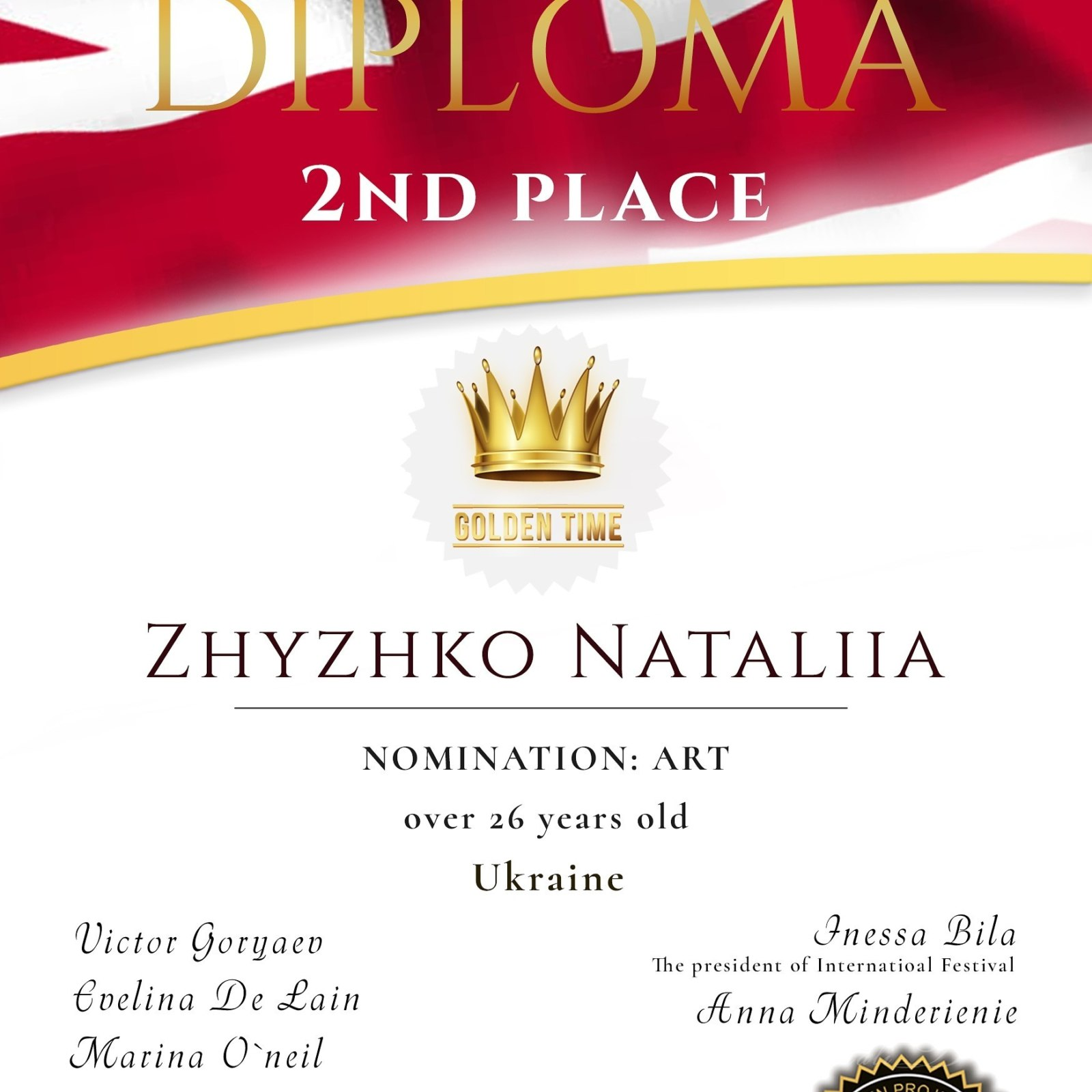 Diploma andCup for 2st place